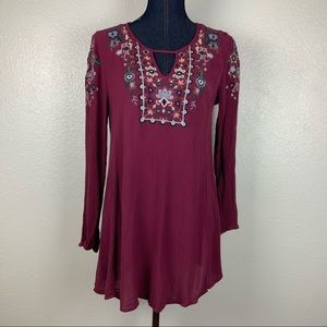 Aeropostale Maroon Red Tunic Embroidered w Sleeves